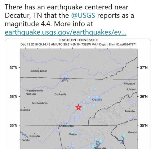 """美 테네시주 규모 4.4 지진…""""부상자·피해 보고 없어"""""""