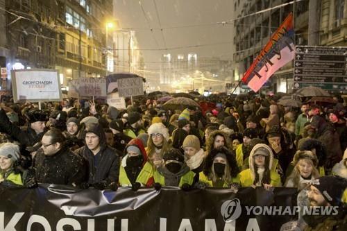 세르비아서도 '노란조끼' 반정부 시위…야당대표 피습에 항의