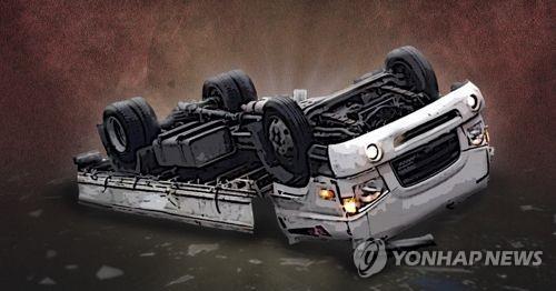 태국인 근로자 논두렁으로 밀린 트럭에 깔려 숨져