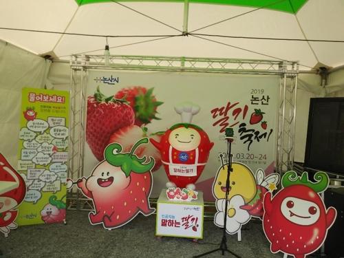 논산 딸기 축제장에 인공지능 안내 로봇 '먹보 딸기' 선봬