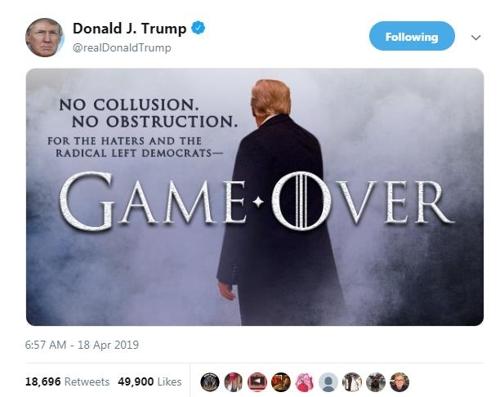 트럼프, 특검보고서 공개에 게임 끝…수사 개시 진상규명해야(종합)