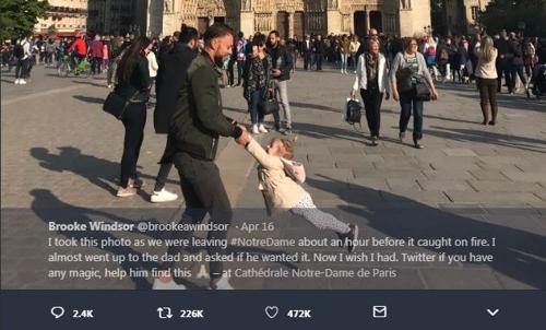 노트르담 대성당 화재 직전 '행복했던 부녀' SNS로 찾았다