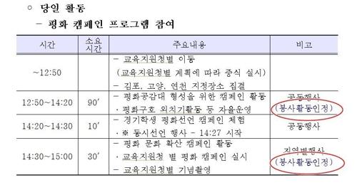 판문점선언 1주년행사 참석학생 경기 4천명 vs 서울 100명 왜?