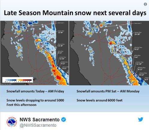 5월의 눈보라…美캘리포니아에 겨울폭풍 주의보