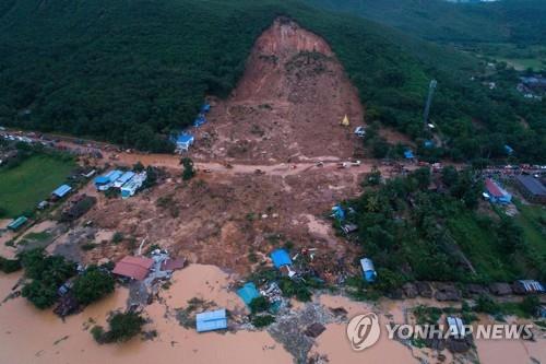 미얀마 산사태 사망자 41명으로 늘어…주택 27채 파묻혀