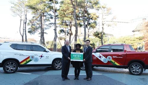쌍용차, 아프리카 가나 의료지원용 차량 2대 기증