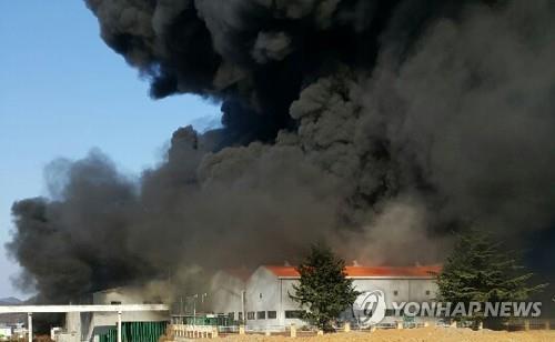 칠곡 팔레트 제조공장 화재 9시간여 만에 완전 진화