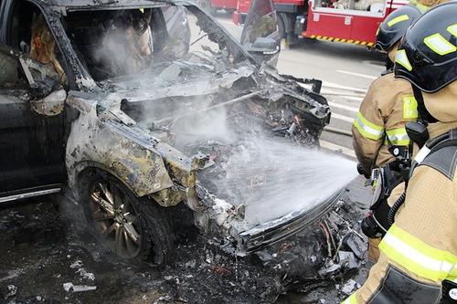 도로 정차한 포드 승용차에 불…2천100만원 피해