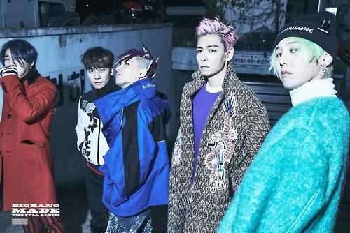 En la imagen, proporcionada, el 13 de diciembre de 2016, por YG Entertainment, figuran (de izda. a dcha.): Daesung, Seungri, Taeyang, T.O.P y G-Dragon, del grupo de música K-pop Bigbang.