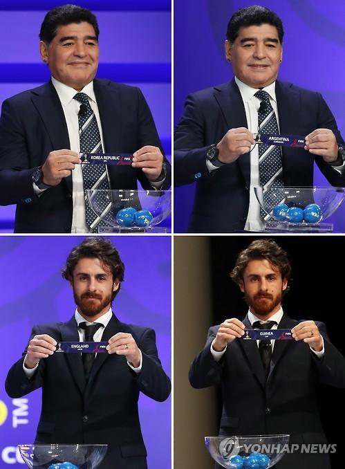 Las dos fotos en la primera fila muestran al legendario futbolista de Argentina, Diego Armando Maradona, y las dos en la segunda fila muestran a la estrella de fútbol argentina, Pablo Aimar.