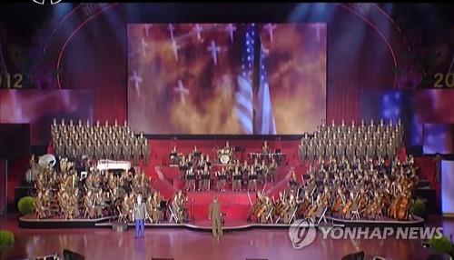 La imagen, capturada el 18 de abril del 2017 de la Estación Central de Televisión de Corea del Norte, muestra un ataque de misil simulado de Corea del Norte contra Estados Unidos. (Uso exclusivo dentro de Corea del Sur. Prohibida su distribución parcial o total)