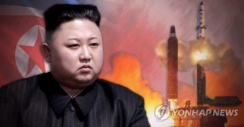 La fotografía compuesta muestra al líder norcoreano, Kim Jong-un, y el lanzamiento de un misil de Pyongyang. (Uso exclusivo dentro de Corea del Sur. Prohibida su distribución parcial o total)