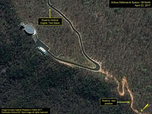 Imagen vía satélite de la Estación Sohae de Lanzamiento de Satélites (foto capturada de la página web 38 North)