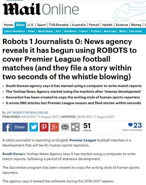 Imagen tomada de la noticia publicada por el Daily Mail sobre Soccerbot, desarrollado por la Agencia de Noticias Yonhap.