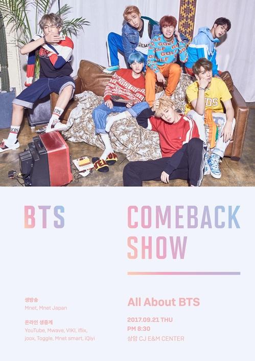 """En la imagen se muestra el cartel promocional de """"BTS Comeback Show"""" que será transmitido por Mnet."""
