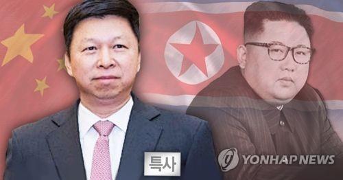 El líder norcoreano, Kim Jong-un (dcha.), y Song Tao, jefe del departamento internacional del Comité Central del Partido Comunista de China