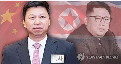 Song Tao (izda.), enviado especial del presidente de China, Xi Jinping, y el líder norcoreano, Kim Jong-un