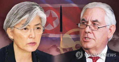 La canciller surcoreana, Kang Kyung-wha, y el secretario de Estado estadounidense, Rex Tillerson