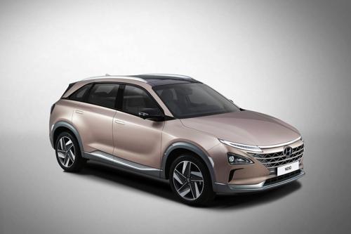 En la imagen, proporcionada por Hyundai Motor, se muestra el vehículo de la firma surcoreana NEXO, presentado en el CES 2018 de Las Vegas.