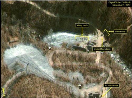 La región occidental del sitio de pruebas nucleares de Punggye-ri, en Corea del Norte (foto cortesía de DigitalGlobe y 38 North)