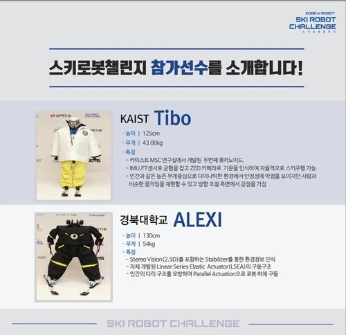 """En la imagen, capturada de la página web del evento """"Ski Robot Challenge"""", se muestran algunos de los ocho robots que compiten en el Parque Welli Hilli, en la provincia de Gangwon."""
