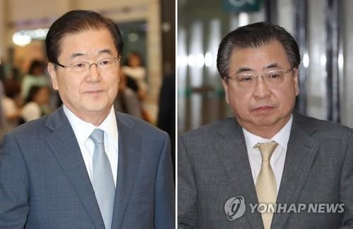 El jefe de la agencia de inteligencia de Corea del Sur, Suh Hoon (dcha.), y el jefe de la Oficina de Seguridad Nacional, Chung Eui-yong, son escogidos, el 4 de marzo de 2018, por el presidente Moon Jae-in, como enviados especiales para Corea del Norte. (Fotos de archivo)