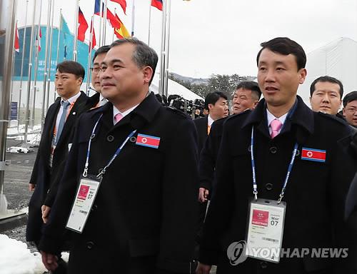 La delegación norcoreana para los Juegos Paralímpicos de Invierno de PyeongChang 2018 llega, el 7 de marzo de 2018, a la comarca alpina situada en la provincia de Gangwon.
