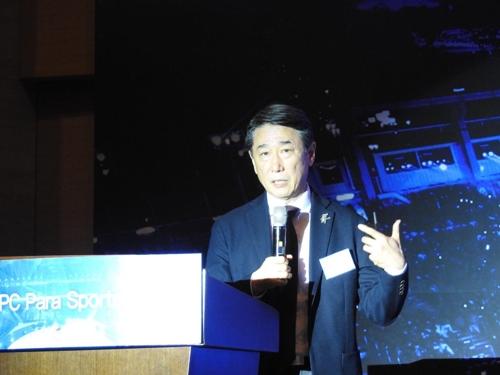 Oh Joon, exembajador de Corea del Sur en las Naciones Unidas, habla durante el Foro Deportivo Internacional del Comité Paralímpico de Corea del Sur en Gangneung, provincia de Gangwon, el 7 de marzo de 2018.