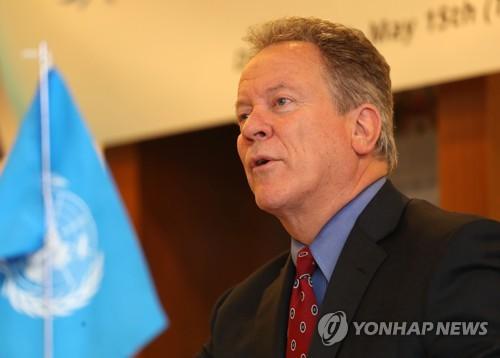 El director ejecutivo del Programa Mundial de Alimentos (PMA), David Beasley, habla durante una conferencia de prensa en Seúl el 15 de mayo de 2018