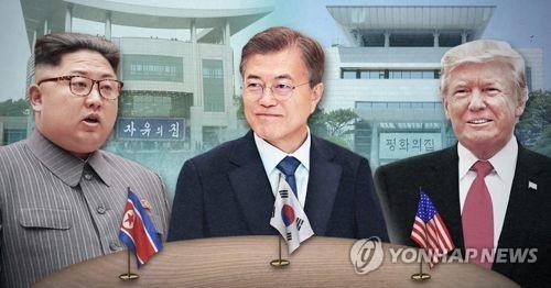En el fotomontaje se muestran (de izda. a dcha.) al presidente del Comité de Asuntos de Estado norcoreano, Kim Jong-un; el presidente surcoreano, Moon Jae-in, y el presidente estadounidense, Donald Trump.