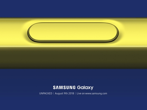 En la fotografía se muestra un póster promocional de un evento de presentación de Samsung Electronics Co., desvelado por la compañía el 28 de junio de 2018, para su próximo tabléfono inteligente.