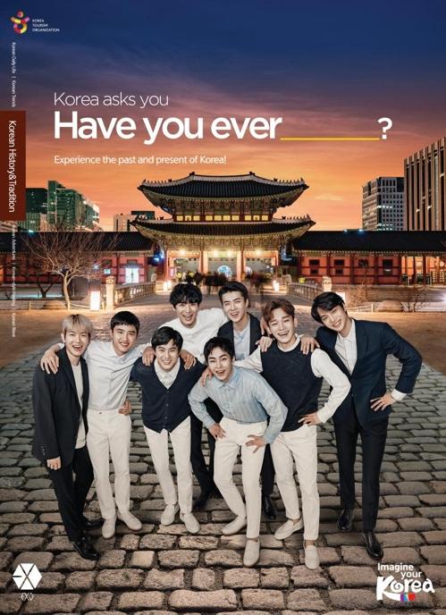 Los miembros de la banda de K-pop EXO posan para una foto en esta imagen proporcionada por la KTO.