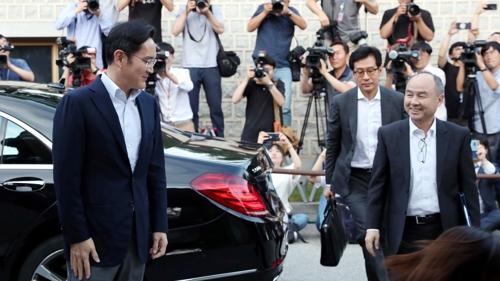 소프트뱅크 손정의 회장 국내기업총수들 만찬 입장 스케치 및 인터뷰
