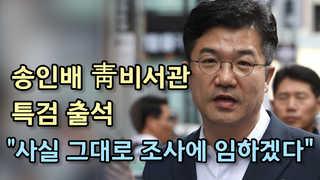 """[현장] 송인배 비서관, 특검 출석…""""사실 그대로 조사에 임하겠다"""""""