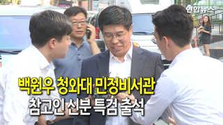 """[현장] 백원우 청와대 비서관 특검 출석…""""성실히 조사 받겠다"""""""