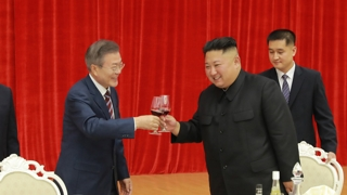 남북 정상, 만찬장에서 '한반도 평화' 한목소리