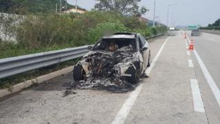 남해고속도로 달리던 BMW 520d 화재