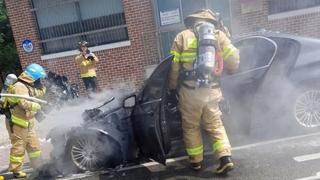 평창서 BMW 520d 주행 중 화재