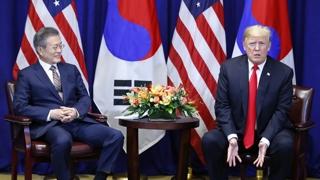 """[현장연결] 뉴욕에서 만난 한-미 정상…문 대통령 """"북한 비핵화, 진전된.."""
