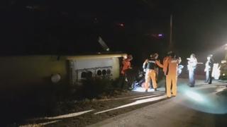 논산서 고속버스 5m 언덕 밑 추락…1명 사망ㆍ13명 부상