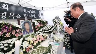"""김병준, 분신 택시기사 분향소 조문…""""정부의 잘못"""""""