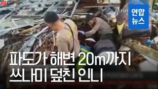 [영상] 집 무너지고 차 나뒹굴고…쓰나미 덮친 인니 해변 '처참'