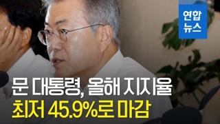 [영상] 올해 文대통령 국정지지도 71.6%로 출발…마지막날 최저 45...