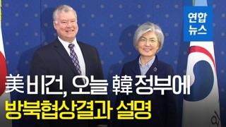 """[영상] 美비건 """"방북 협의 생산적""""…강경화 외교장관 예방"""