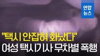 """[영상] """"택시 안잡혀 화났다""""며 여성 택시기사 무차별 폭행"""