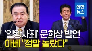 """[영상] '일왕사죄' 문희상 발언에 아베 """"정말 놀랐다, 엄중 항의"""""""