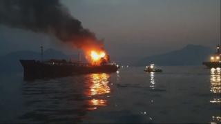 여수 오동도 해상서 석유제품운반선 화재…4명 구조