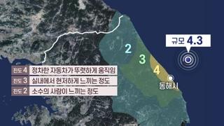 강원 동해 해역 규모 4.3 지진…전국 곳곳 흔들
