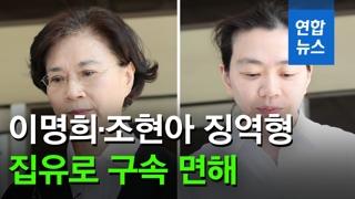 [영상] 이명희·조현아 구속 면해…법원 나서는 모녀 '굳은 표정'