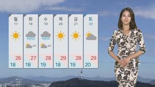 [날씨] 휴일 화창·공기 깨끗…동해안 낮까지 비